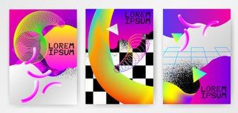 Cartazes abstratos modernos coloridos, tampas, moldes com inclinações, linha fina onda do fumo, forma líquida no fundo cinzento Fotos de Stock