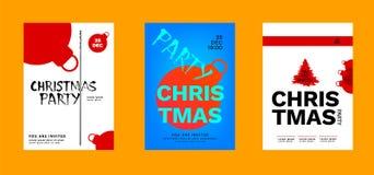 Cartazes ajustados da festa de Natal para seu projeto ilustração stock