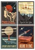 Cartazes americanos do espaço do vintage dos anos 50 ilustração royalty free
