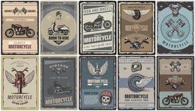 Cartazes coloridos vintage da motocicleta ajustados ilustração royalty free