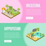 Cartazes 3D isométricos do jardim zoológico público ajustados ilustração stock