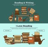 Cartazes da literatura do vintage dos livros da leitura e da escrita da biblioteca de ícones da novela ou do livro e da máquina d ilustração royalty free