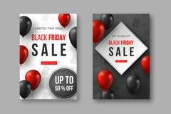 Cartazes da venda de Black Friday os balões lustrosos realísticos vermelhos e pretos de 3d com texto e disconto etiquetam Teste p ilustração stock