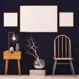 Cartazes do modelo no interior nos quadros de cobre no fundo escuro 3d Foto de Stock Royalty Free