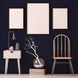 Cartazes do modelo no interior nos quadros de cobre no fundo escuro 3d Fotos de Stock
