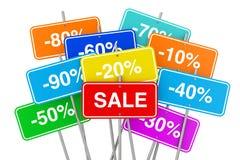 Cartazes Multicolour da venda com muitos discontos dos por cento 3d rendem Foto de Stock Royalty Free