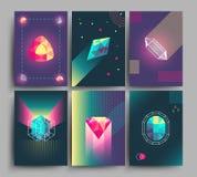 Cartazes na moda retros do moderno do vetor, cartão 3d com cristais, formas geométricas abstratas ilustração royalty free