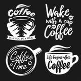 Cartazes tirados mão do café da tipografia ajustados ilustração royalty free
