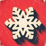 Carte âgée de flocon de neige de Noël avec l'ombre tramée Images stock