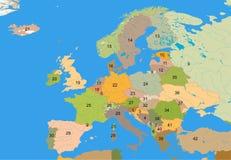 Carte éducative de l'Europe Photographie stock libre de droits