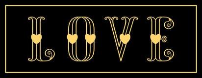 Carte élégante d'amour avec les coeurs rouges d'amour et d'or sur un noir Photo stock