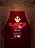 Carte élégante d'invitation de VIP avec les rideaux de scintillement en absrtacr d'or Photos stock