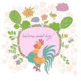 Carte élégante de bande dessinée faite de fleurs mignonnes, coq gribouillé Photo stock