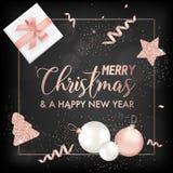 Carte élégante de Joyeux Noël avec des boules d'arbre de Noël, des cadeaux d'étoiles pour l'invitation, des salutations ou insect illustration de vecteur