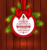Carte élégante de Joyeux Noël avec le ruban d'arc Image libre de droits