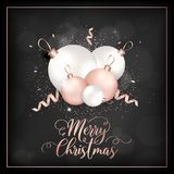 Carte élégante de Joyeux Noël avec Rose Gold Christmas Tree Balls pour l'invitation, les salutations ou l'insecte et la nouvelle  Illustration Stock