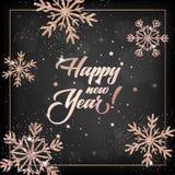 Carte élégante de la nouvelle année 2019 avec Rose Gold Christmas Balls Wreath pour l'invitation, les salutations et la brochure  Illustration de Vecteur