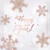 Carte élégante de la nouvelle année 2019 avec Rose Gold Christmas Balls Wreath pour l'invitation, les salutations insecte et la b Illustration Libre de Droits