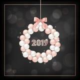 Carte élégante de la nouvelle année 2019 avec Rose Gold Christmas Balls Wreath pour l'invitation, les salutations ou l'insecte et Illustration Stock