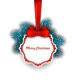 Carte élégante de Noël avec le ruban et le sapin d'arc Photo libre de droits