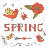 Carte élégante de ressort avec un ressort, des oiseaux, des fleurs et des papillons de mot Photos libres de droits