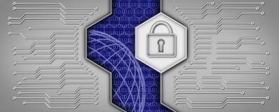 Carte électronique avec le cadenas Image libre de droits