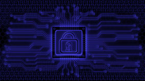 Carte électronique avec le cadenas illustration stock