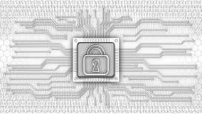 Carte électronique avec le cadenas illustration libre de droits