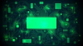 Carte électronique avec un processeur, des puces et un code binaire Fond électronique de pointe abstrait, l'espace de copie, cali Photo libre de droits