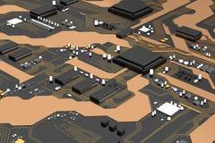 carte électronique de 3D Rendered avec l'ele de processeur de jeu de puces d'unité centrale de traitement illustration de vecteur