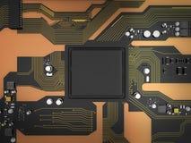carte électronique de 3D Rendered avec l'ele de processeur de jeu de puces d'unité centrale de traitement illustration libre de droits
