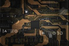 carte électronique de 3D Rendered avec l'ele de processeur de jeu de puces d'unité centrale de traitement Photographie stock libre de droits