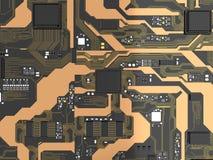 carte électronique de 3D Rendered avec l'ele de processeur de jeu de puces d'unité centrale de traitement Image stock