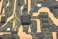 carte électronique de 3D Rendered avec l'ele de processeur de jeu de puces d'unité centrale de traitement Photos stock