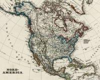 carte 1875 antique de l'Amérique du nord Image stock