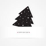 Carte 2013 de Noël avec l'arbre de sapin noir Images stock