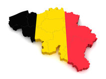 carte 3D de la Belgique Images stock