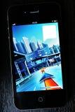 carte 3D de la ville sur l'affichage de smartphone Images libres de droits