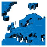 carte 3d de région européenne Photo libre de droits