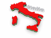 Carte 3D simple de l'Italie Photos stock