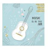 Carte abstraite d'aspiration de main de guitare de musique Illustration de vecteur de griffonnage Affiche graphique, style de cro Photo libre de droits