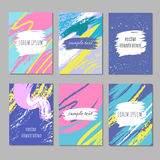 Carte abstraite de partie avec les courses en pastel de brosse d'art Collection créative de milieux de vecteur de feutre illustration libre de droits