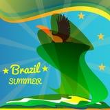 Carte abstraite du Brésil d'été avec l'oiseau et les étoiles de toucan au-dessus des rayons et du fond de mer illustration de vecteur