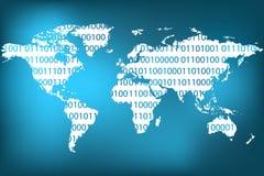 Carte abstraite du monde avec le code binaire Images libres de droits
