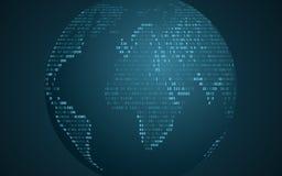 Carte abstraite du monde de code binaire La terre abstraite de planète Fond futuriste Code de programmation par ordinateur Réseau illustration stock