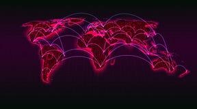 Carte abstraite du monde de code binaire numérique sur un fond de grille, transactions globales d'Internet, blockchain, illustrat illustration de vecteur