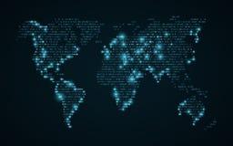 Carte abstraite du monde de code binaire Carte rougeoyante de la terre Fond bleu-foncé Lumières bleues De pointe Technologie de l illustration stock