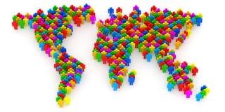 Carte abstraite du monde des gens 3d illustration stock