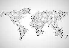 Carte abstraite du monde des points et de la ligne Photographie stock libre de droits