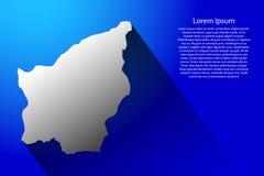 Carte abstraite du Saint-Marin avec la longue ombre sur l'illustration bleue de vecteur de fond illustration libre de droits
